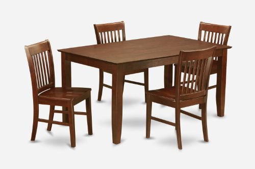 East West Furniture CANO5-MAH-W 5 PC Dining Set-Dining Table with 4 Kitchen Dining Chairs