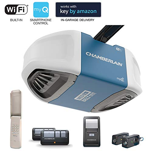 (Chamberlain Group B550 Smartphone-Controlled Ultra-Quiet & Strong Belt Drive Garage Door Opener with MED Lifting Power, Blue)