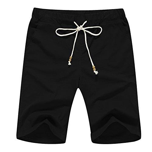 Janmid Men's Linen Casual Classic Fit Short Black XS