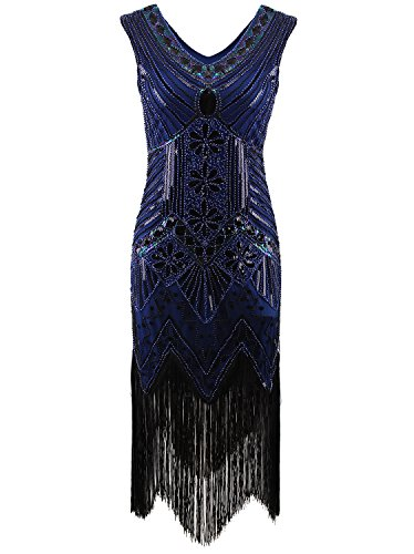 Vijiv Women 1920s Gastby Sequin Art Nouveau Embellished Fringed Flapper Dress Blue X-Small Blue X-Small