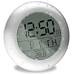 TOENNESEN Fashion Waterproof Bathroom Wall Clock Suction Cup Shower Clock with LCD Display, Date and Temperature (Round, Silver)