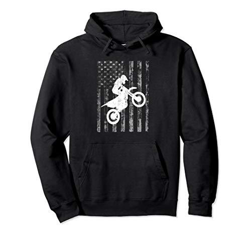 American Flag Dirt Bike Rider Wheelie Hooded Sweatshirt