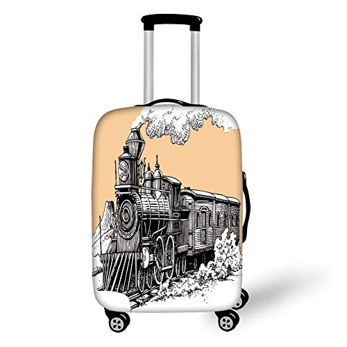 (Travel Luggage Cover Suitcase Protector,Steam Engine,Vintage Wooden Train Rail Wild West Wagon in Countryside Drawing Effect Artsy,Peach White,for TravelL 25.9x37.8Inch)
