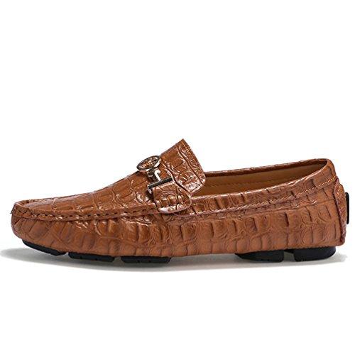 SUNROLAN Ahern Mens Crocodile Leather Slip-On Flat Loafers Bit Ornament Driving Moccasins Boat Shoes New Saddle Brown 3Jk15