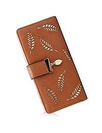 Women's Long Leather Card Holder Purse Zipper Buckle Elegant Clutch Wallet (Brown)