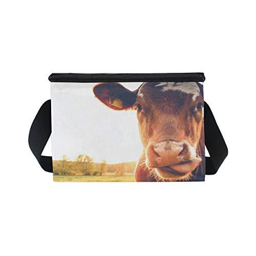 Bandoulière vaches Happy pique lunch pour lunch Boîte Sac Cooler sur coucher au le du à pré nique soleil à CqZxBntx