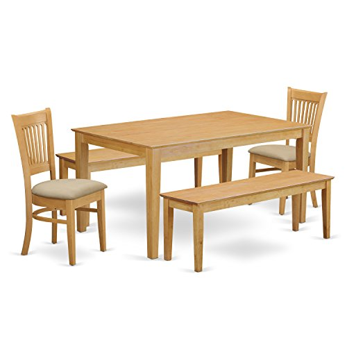 East West Furniture CAVA5C-OAK-C 5 Piece Small Table and 2 Chairs Plus 2 Wooden Benches Set
