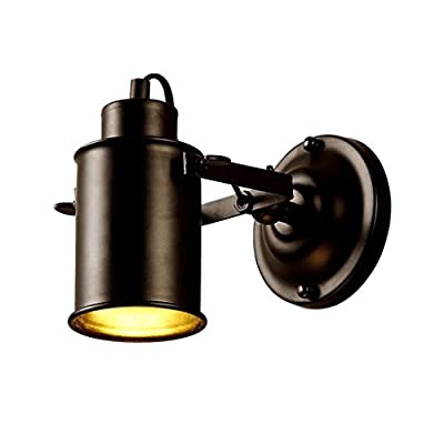 XHJJDJ Adjust Spotlight Metal Cylinder Shade Mini Small Wall Sconce Wall Lamp Lighting Fixture in Black for Living Room/Bedroom/Kitchen