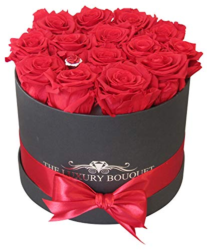(The Luxury Bouquet Premium Quality Classic Red Roses, Preserved in Round 8-inch Black Box, Everlasting Eternity Forever Rose Decorations no Water Need.)