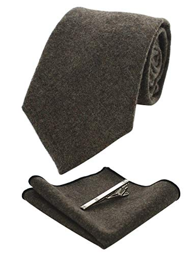 - JEMYGINS Olive Green Cashmere Wool Necktie and Pocket Square, Hankerchief and Tie Clip Sets for Men (2)