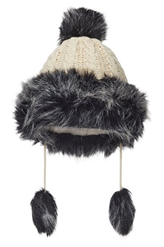 Nothing But Love Women Mongolian Hat With Faux Silver Fox Fur Pompom Cable Knit Fleece Lined Cap (Light Beige)