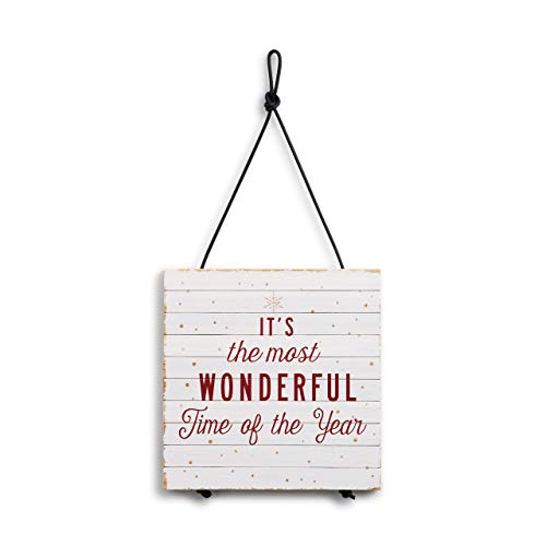 Most Wonderful Time Winter White 8 x 8 Bamboo Wood Christmas Expandable Trivet