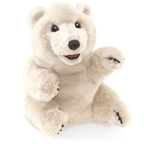 Folkmanis Sitting Polar Bear Hand - Polar Bear Puppet Hand