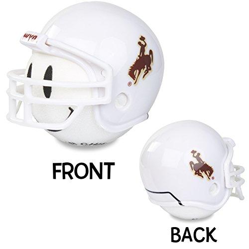 NCAA College Wyoming Cowboy Football (White Smiley) Car Antenna Topper - Rear View Mirror Dangler - Mirror Hanger + Free Happy Antenna Ball (Auto Accessories)