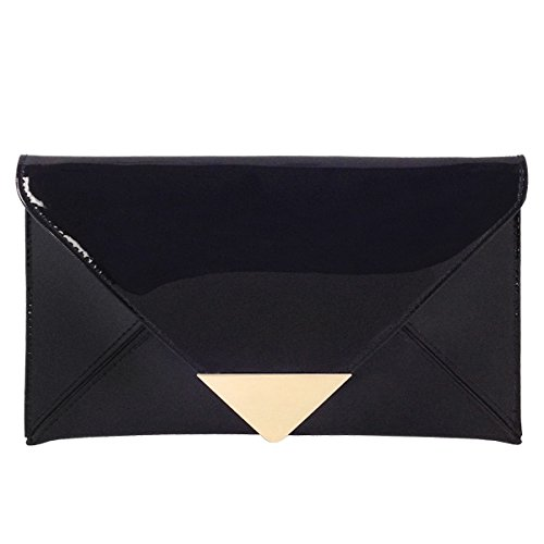 JNB Faux Patent Leather Glossy Envelope Clutch
