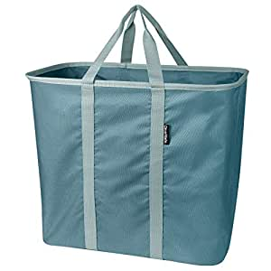 CleverMade Collapsible Laundry Tote, Large Foldable Clothes Hamper Bag, LaundryCaddy CarryAll XL Pop Up Storage Basket with Handles, Dark Teal/Light Teal
