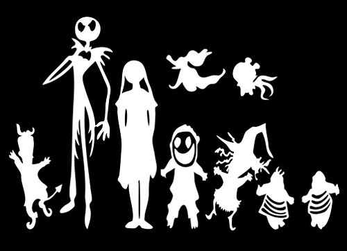 NuBox Decals Disney Nightmare Before xmas Jack Skellington And Family Vinyl For Laptops And Windows Halloween Decal Sticker (white, 7