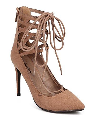 Breckelles DG21 Women Suede Pointy Toe Caged Gilly Tie Stiletto Heel Pump Natural