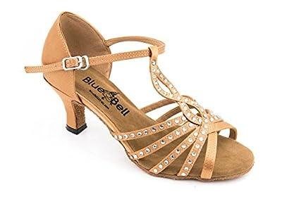 "Blue Bell Shoes HANDMADE Women's Ballroom Salsa Wedding Competition Dance Shoes Bia 2.5"" Heel - Tan"