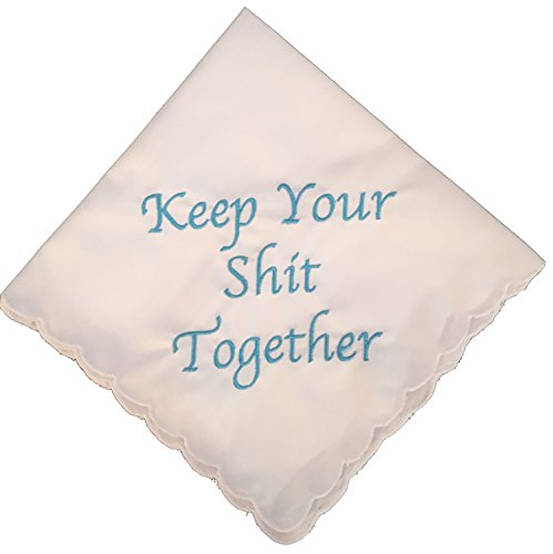 (Keep Your Shit Together Wedding Handkerchief in Blue- Something Blue Bridal)