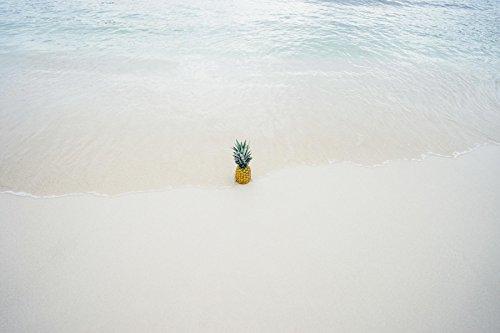 Ananas allein am Strand Poster ca. 91 x 61 cm hochwertiger Kunstdruck Fotopapier