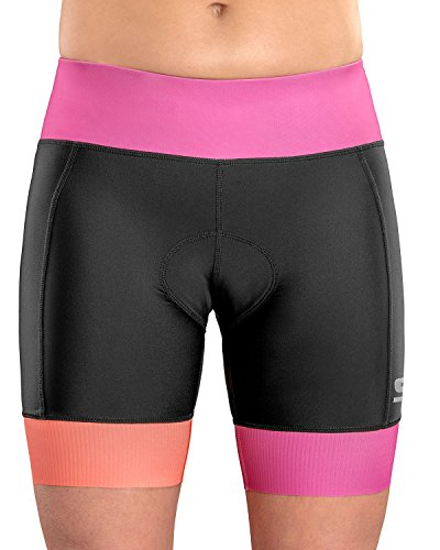SLS3 Womens Triathlon Shorts FRT | 6 inch Black Women Tri Short | Super Comfy with Soft Chamois | German Designed 2018 Rose Violet L (Ironman Tri-shorts)