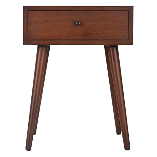 Décor Therapy Mid Century One Drawer Wood Side Table, Light Walnut