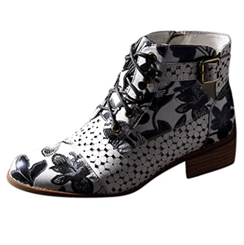 Aunimeifly Ladies Ankle Boots Autumn Women Ink Floral Pattern Cow Leather Metal Buckle Splicing Lace Up Ankle Boot ()