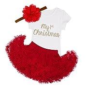FEESHOW Infant Baby Girl My First Christmas Outfits Tutu Romper Headband Leg Warmer Shoes Set (3 pcs 1st Xmas Set, 3-6 Months)