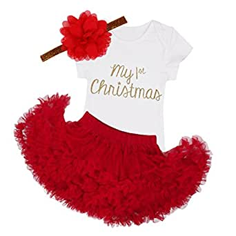 iEFiEL Infant Baby Girls My First Christmas Outfits Romper With Tutu Skirt Headband Set Red 18 Months