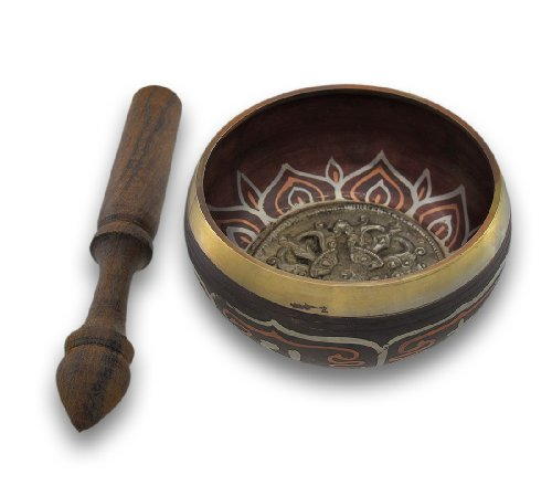 Colored Wooden Bowl (Zeckos Colored Brass Tibetan Meditation Singing Bowl With Wooden Mallet)