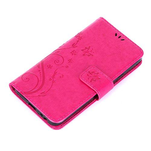 Yiizy LG Nexus 5X Funda, Hierba Flor Diseño Solapa Flip Billetera Carcasa Tapa Estuches Premium PU Cuero Cover Cáscara Bumper Protector Slim Piel Shell Case Stand Ranura para Tarjetas Estilo (Rose Red