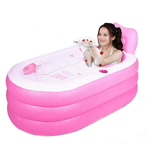 Portable Foldable Adult SPA Inflatable Bathtub Free Standing Bath Tub with Electric Air Pump (Pink)]()