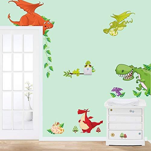 MLM Cute Cartoon Colorful Dinosaur Zoo Children's Room Decor Kindergarten Boys And Girls Bedroom Furnished Cartoon Sticker Removable Vinyl Wall Stickers - Baby Boy Decal Set