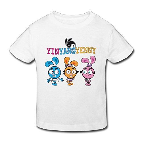 Toddler's 100% Cotton Yin Yang Yo Cute T-Shirt White US Size 2 Toddler