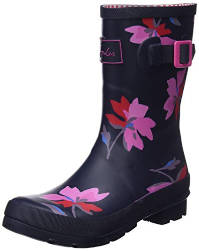 Joules Women's Molly Welly Rain Boot, Navy Multi Floral, 5 Medium US