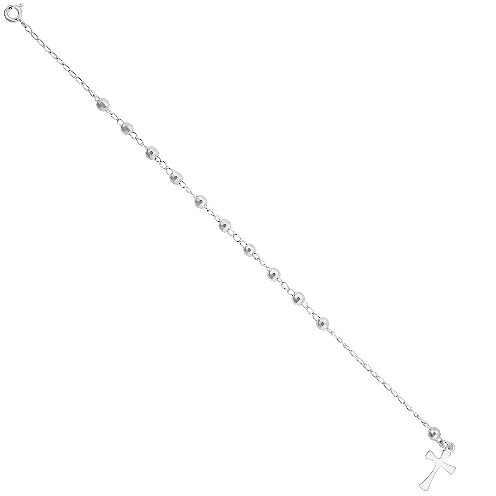 available 7-8 inch Sterling Silver Rosary Bracelet for Women 4 mm Faceted Beads