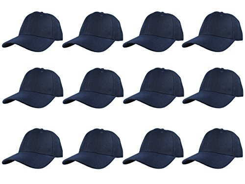 (Gelante Plain Blank Baseball Caps Adjustable Back Strap Wholesale LOT 12 Pack- 001-Navy)