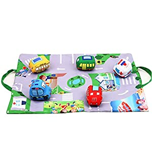 AIPINQI Play Rug, Kids Carpet Playmat Kids Rugs for Playroom Play Mat Cars with Non-Slip Backing City Life Play Carpet Educational Playmat with 5 Cars, Traffic Signs, Maps Around Town (20 x 14.5 in)