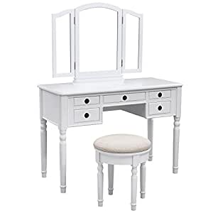 SONGMICS Vanity Set w/ Stool and Folding Mirror Make-up Dressing Table, 3 Mirrors 5 Drawers White URDT108W