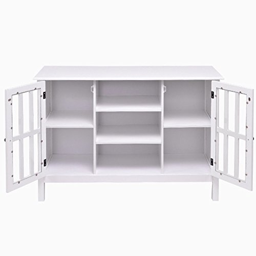 White Wooden Free Standing TV Stand Storage Cabinet Organizer Console Table Holds Up To 45'' TV Large Storage Space 2 Cupboards 3 Display Shelves Home Bedroom Living Room Stylish Furniture Décor by Auténtico (Image #4)