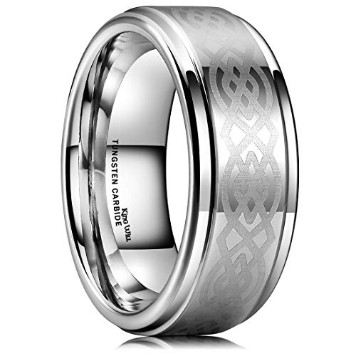 King Will 8mm Mens Tungsten Carbide Ring Laser Etched Celtic Knot Polish Edge Wedding Band(7)