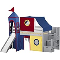 Jackpot Castle Low Loft Stairway Bed in Gray with Slide, Red and Blue Tent and Tower