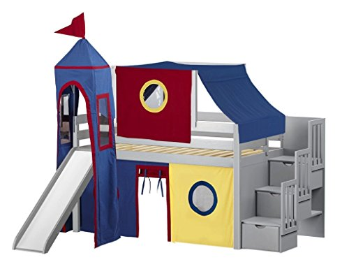 JACKPOT! Castle Low Loft Stairway Bed with Slide Red & Blue Tent and Tower, Loft Bed, Twin, ()