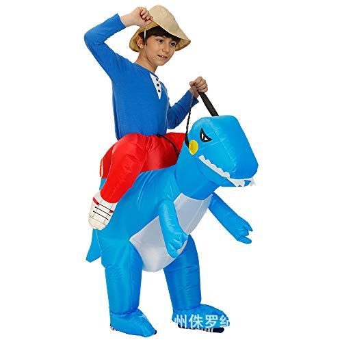Adult Kids Inflatable Walking Dinosaur Costume For Halloween Birthday Party Carnival,Blue-XS(80-120cm)]()
