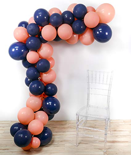 PartyWoo Party Balloons, 80 pcs 12 Inch Navy Blue Balloons Coral Balloons Peach Balloons Blush Balloons, Navy Party Decorations, Coral Birthday Decorations, Peach Wedding Decorations, Blush Decor -