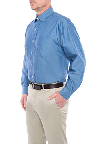 MagnaReady Magnetically Inflused Blue Chambray Mens Long Sleeve Dress Shirt