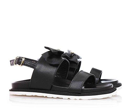 TWIN-SET - Sandale noire en cuir, avec boucle, arc en tissue sur la partie antérieure, fille, filles, enfant, femme