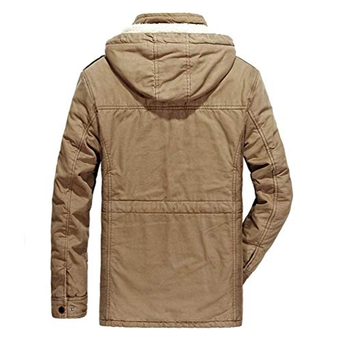 Winter Slim Reme Hooded Long Parka Sleeve Warm Winter Fit Jacket Coat Khaki Thicken Jacket Quilted Outdoor Men's Apparel Jacket Jacket 5f4qR
