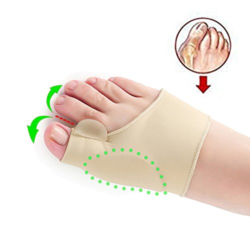 Lolicute Gel Pad Bunion Corrector Protector Sleeves with Gel Toe Separators Spacers Straightener and Spreader 2 Booties for Hallux Valgus Bunion Pain Relief Big Toe Alignment (1 pair) by Lolicute
